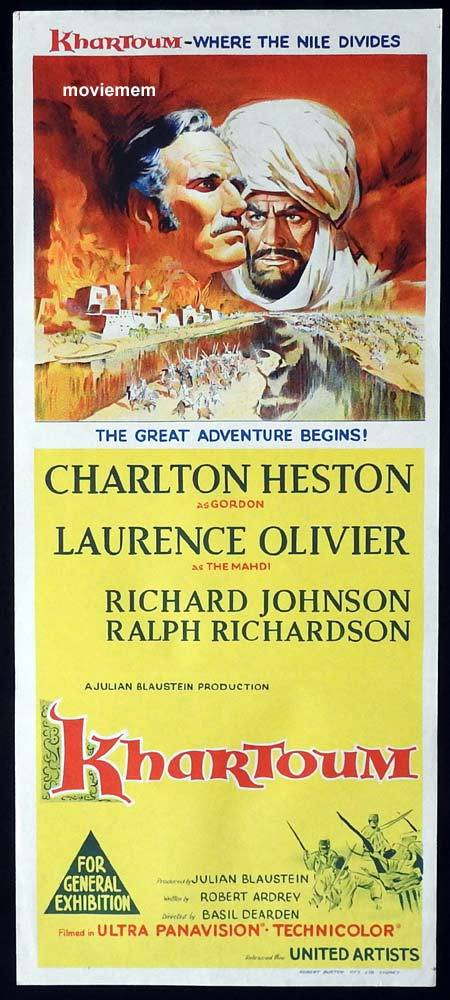 KHARTOUM Original Daybill Movie Poster Charlton Heston Laurence Olivier Richard Johnson