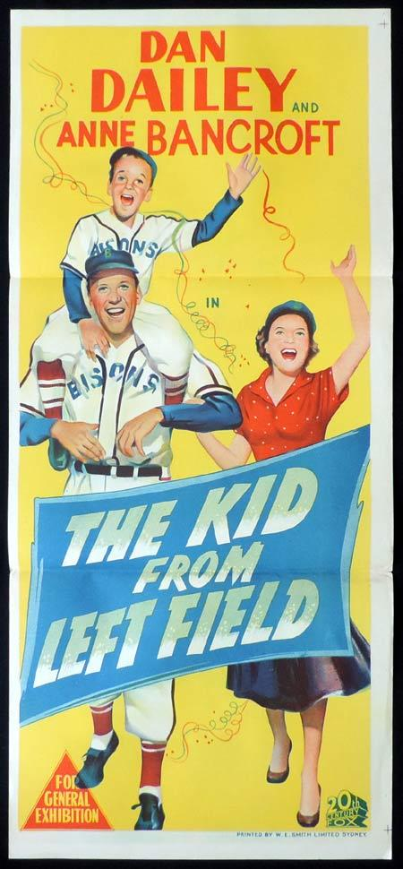 THE KID FROM LEFT FIELD Original Daybill Movie Poster Dan Dailey Anne Bancroft Baseball