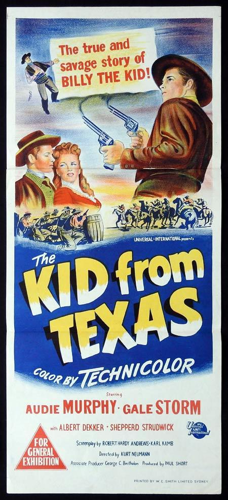 THE KID FROM TEXAS Original Daybill Movie Poster Audie Murphy BILLY THE KID Gale Storm