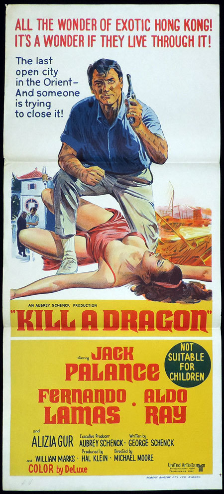 KILL A DRAGON Original Daybill Movie Poster Jack Palance in Exotic Hong Kong