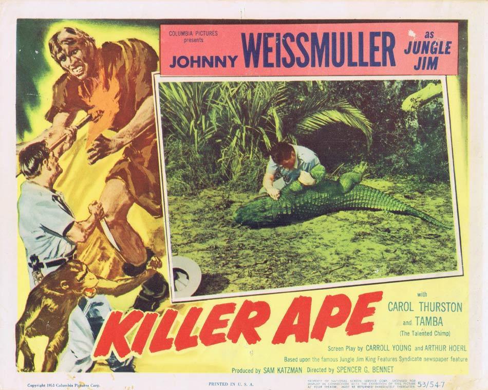 KILLER APE 1953 Lobby Card 3 Jungle Jim Johnny Weissmuller