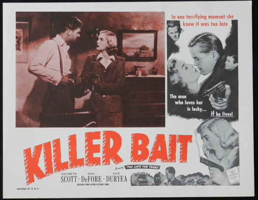 TOO LATE FOR TEARS aka KILLER BAIT 1950s Lobby Card 2 Lizabeth Scott FILM NOIR