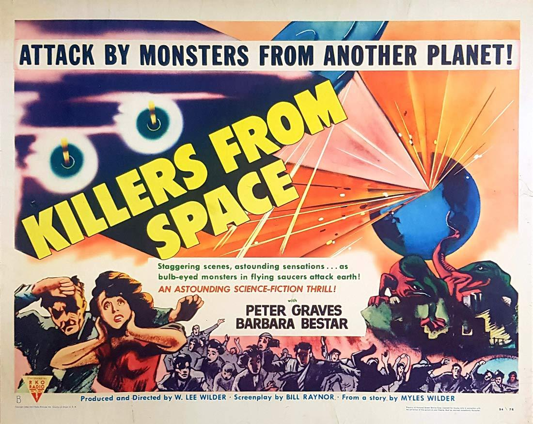 KILLERS FROM SPACE Original US Half Sheet Movie poster  Peter Graves Sci Fi 1954