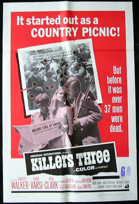KILLERS THREE Original One sheet Movie poster Robert Walker Jr Diane Varsi Dick Clark