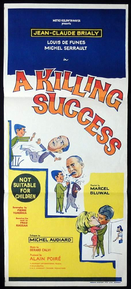 A KILLING SUCCESS Original Australian Daybill Movie Poster Jean Claude Brialy