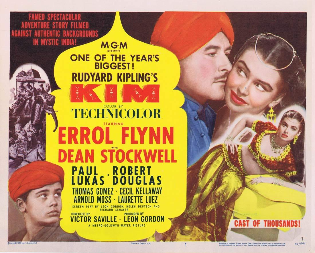 KIM Title Lobby Card Errol Flynn Dean Stockwell Paul Lukas