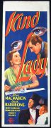 KIND LADY 1939 Basil Rathbone Vintage Long Daybill Movie poster