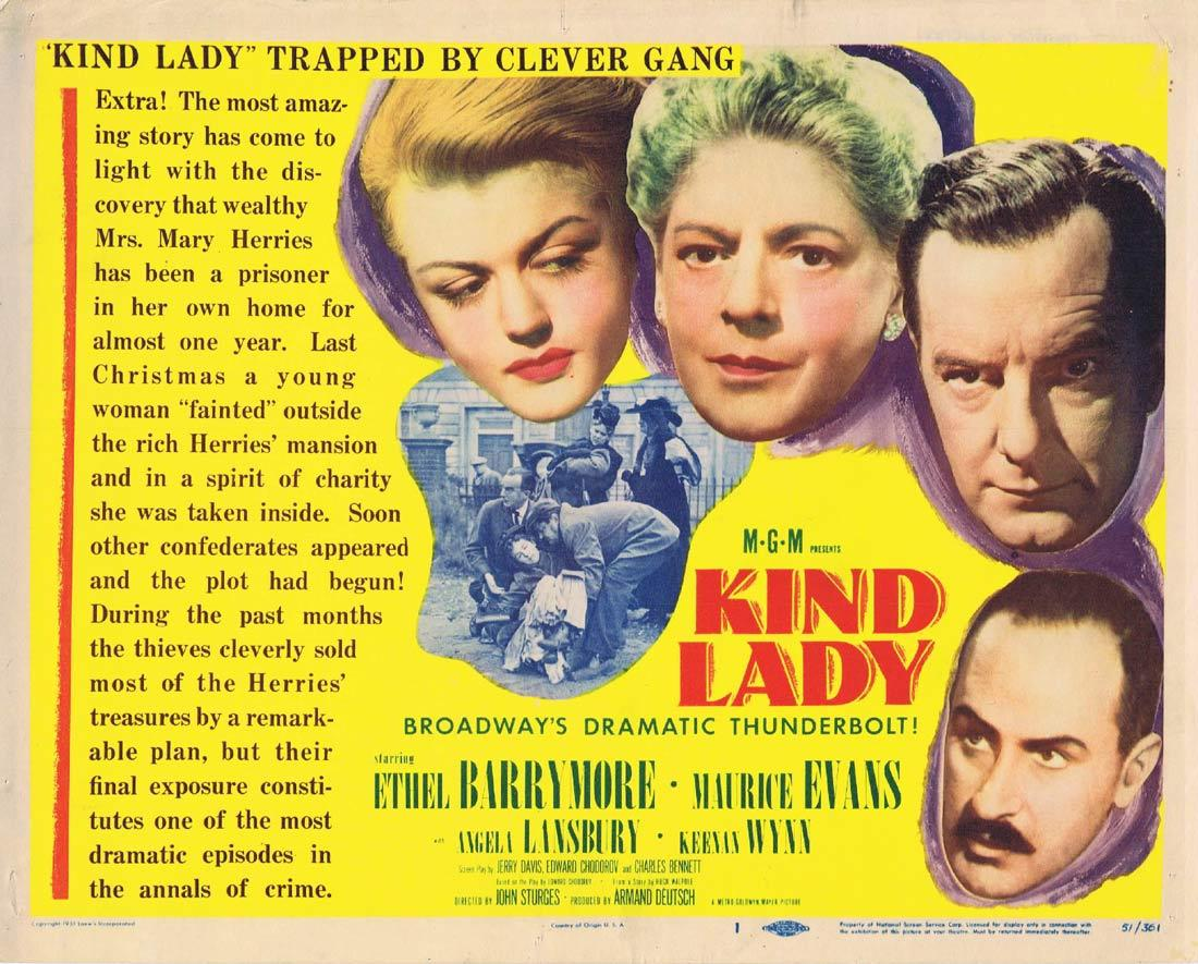 KIND LADY Title Lobby Card Ethel Barrymore Angela Lansbury Maurice Evans