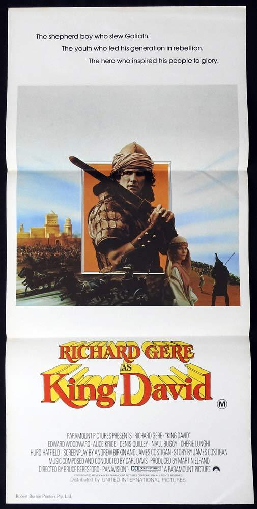 KING DAVID Original Daybill Movie poster EDWARD WOODWARD Richard Gere