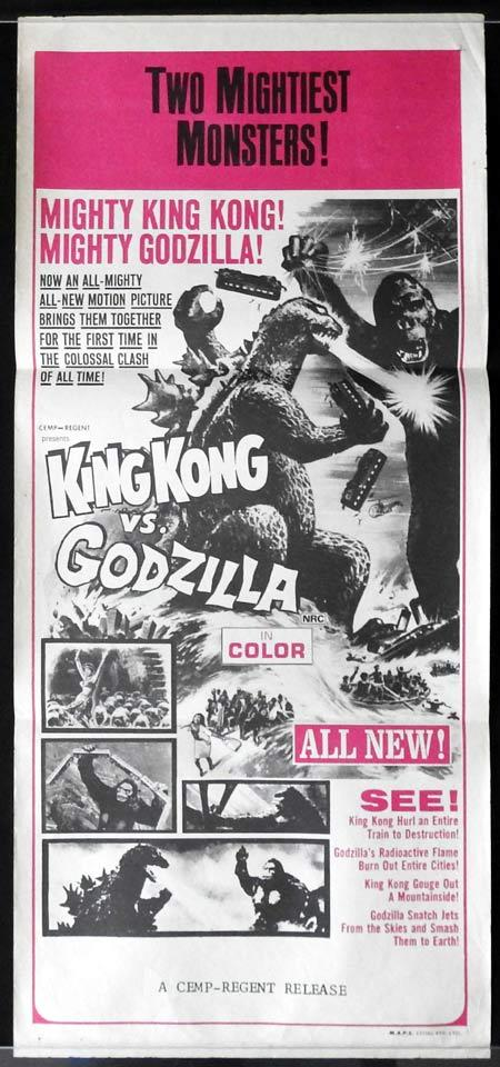 KING KONG VS GODZILLA Original Daybill Movie Poster TOHO Sci Fi