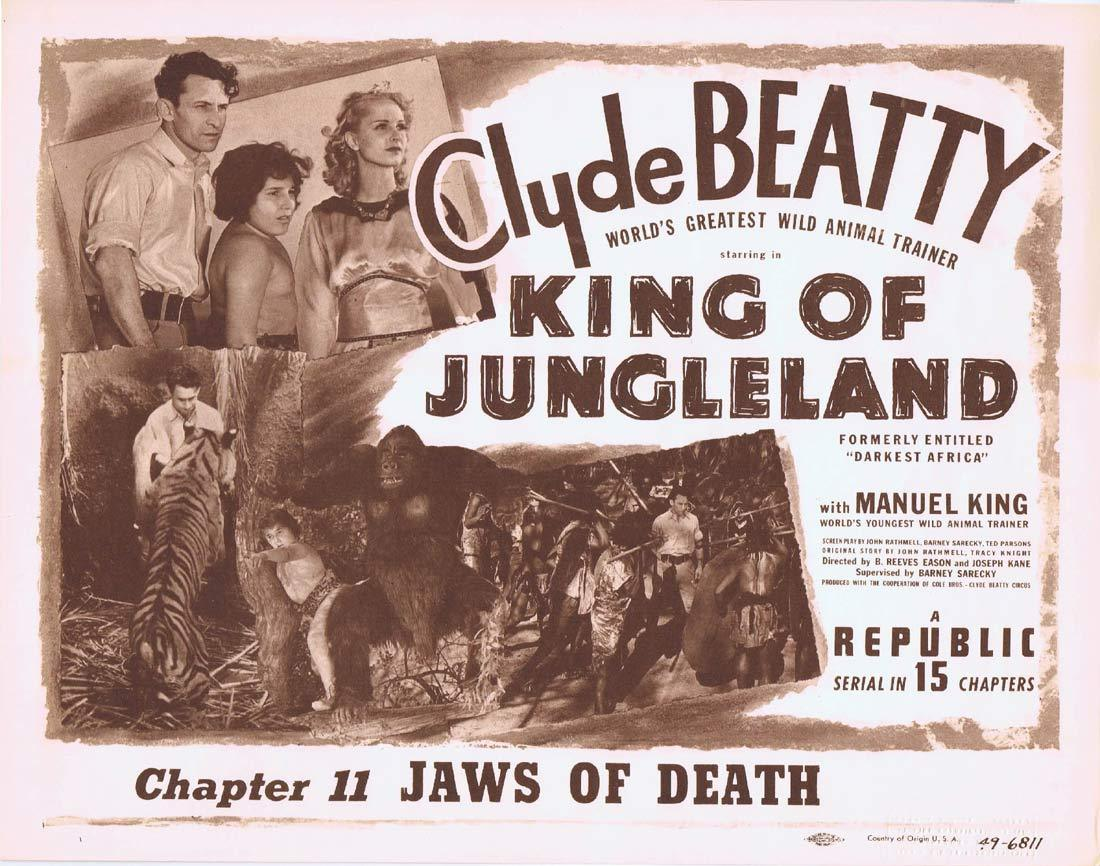 KING OF JUNGLELAND Title Lobby Card Clyde Beatty Republic Serial