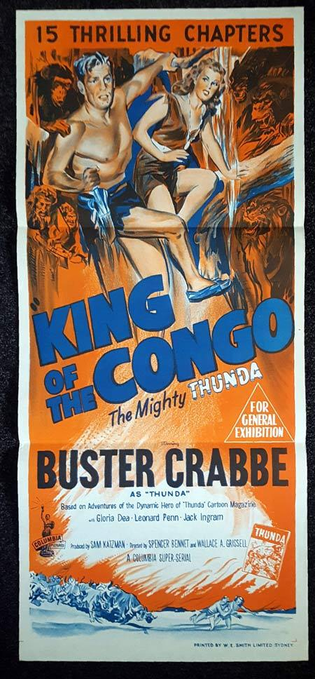 KING OF THE CONGO Daybill Movie Poster Buster Crabbe Columbia Serial