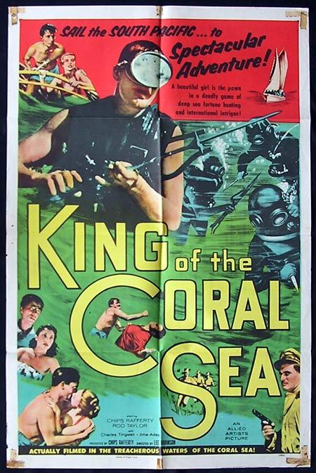 KING OF THE CORAL SEA 1953 Chips Rafferty RARE Skin Diving US One sheet poster