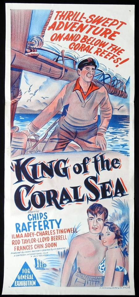 KING OF THE CORAL SEA Daybill Movie poster 1950s Chips Rafferty