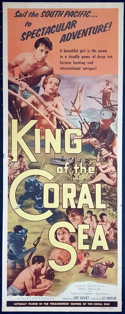 KING OF THE CORAL SEA Chips Rafferty RARE Skin Diving US Insert Movie Poster