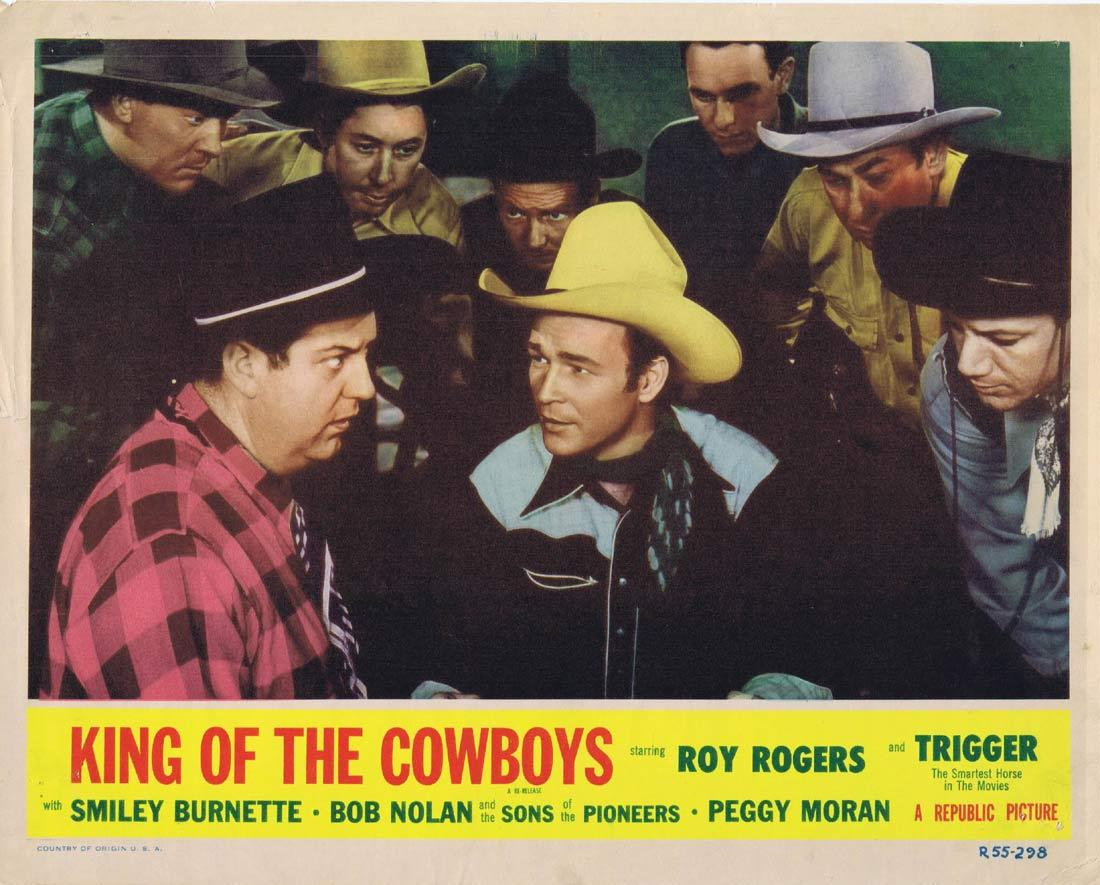 KING OF THE COWBOYS Original Lobby Card Roy Rogers Smiley Burnette 1956r