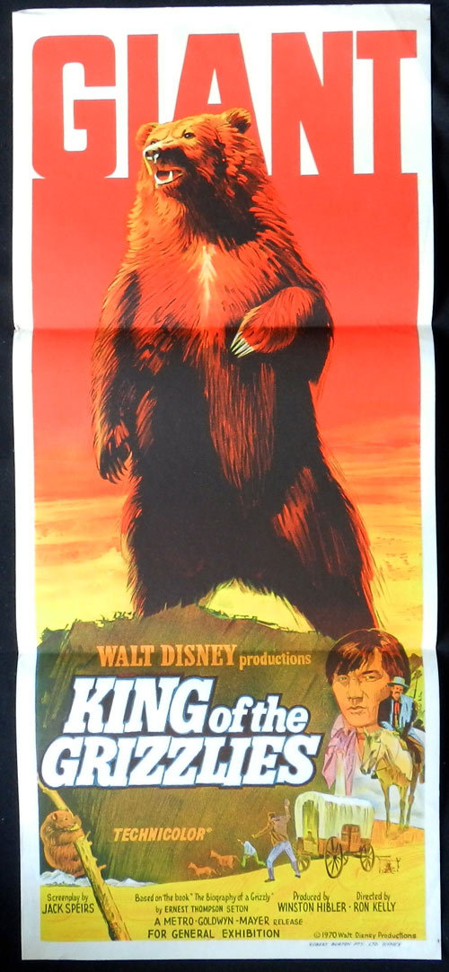 KING OF THE GRIZZLIES 1970 Grizzly Bear Disney Australian Daybill Movie Poster Camilla Sparv Stephen Boyd
