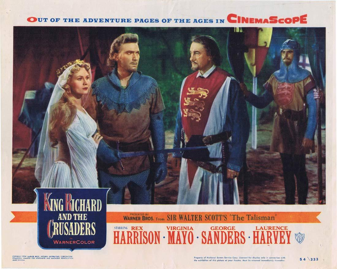 KING RICHARD AND THE CRUSADERS Original Lobby Card 4 Rex Harrison Virginia Mayo