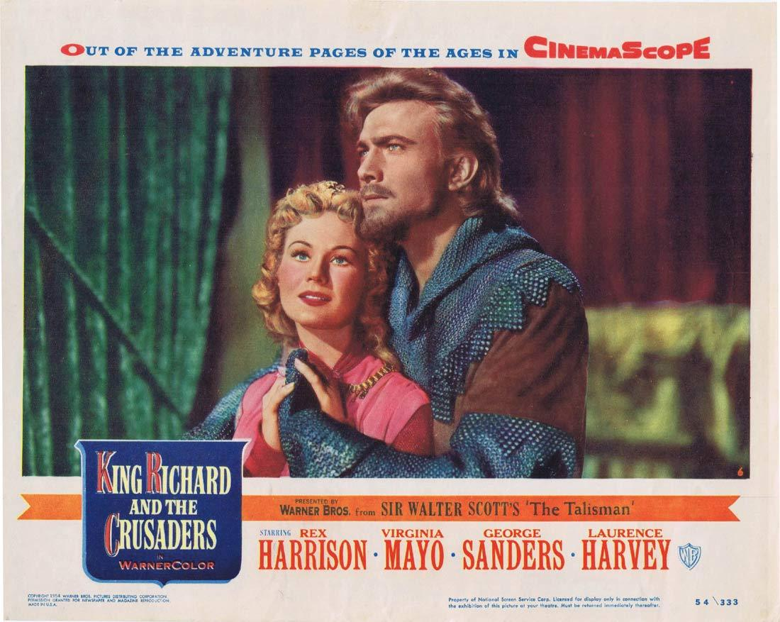KING RICHARD AND THE CRUSADERS Original Lobby Card 6 Rex Harrison Virginia Mayo