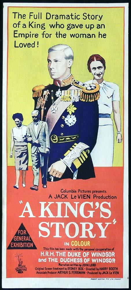 A KING'S STORY Rare Daybill Movie Poster GEORGE VI Wallace Simpson Documentary