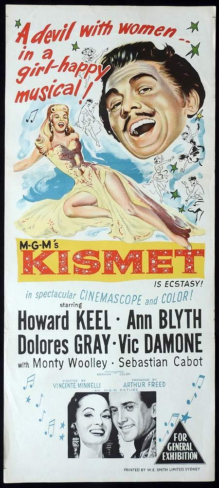 KISMET Original daybill Movie Poster Howard Keel Ann Blyth Dolores Gray
