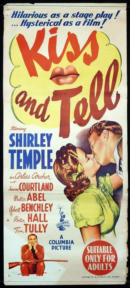 KISS AND TELL Original Daybill Movie Poster Shirley Temple Jerome Courtland Walter Abel 1945