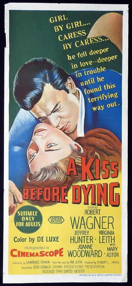 A KISS BEFORE DYING Original Daybill Movie Poster Robert Wagner Jeffrey Hunter