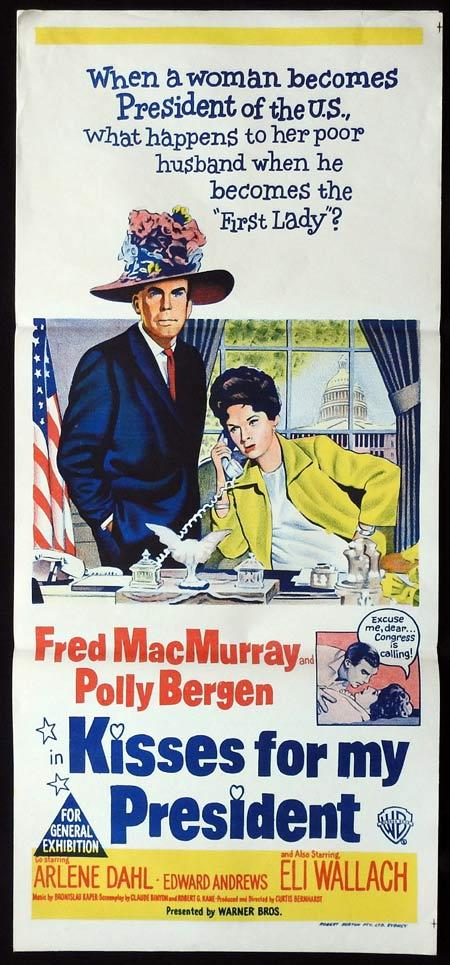 KISSES FOR MY PRESIDENT Original daybill Movie Poster Fred MacMurray Polly Bergen Eli Wallach
