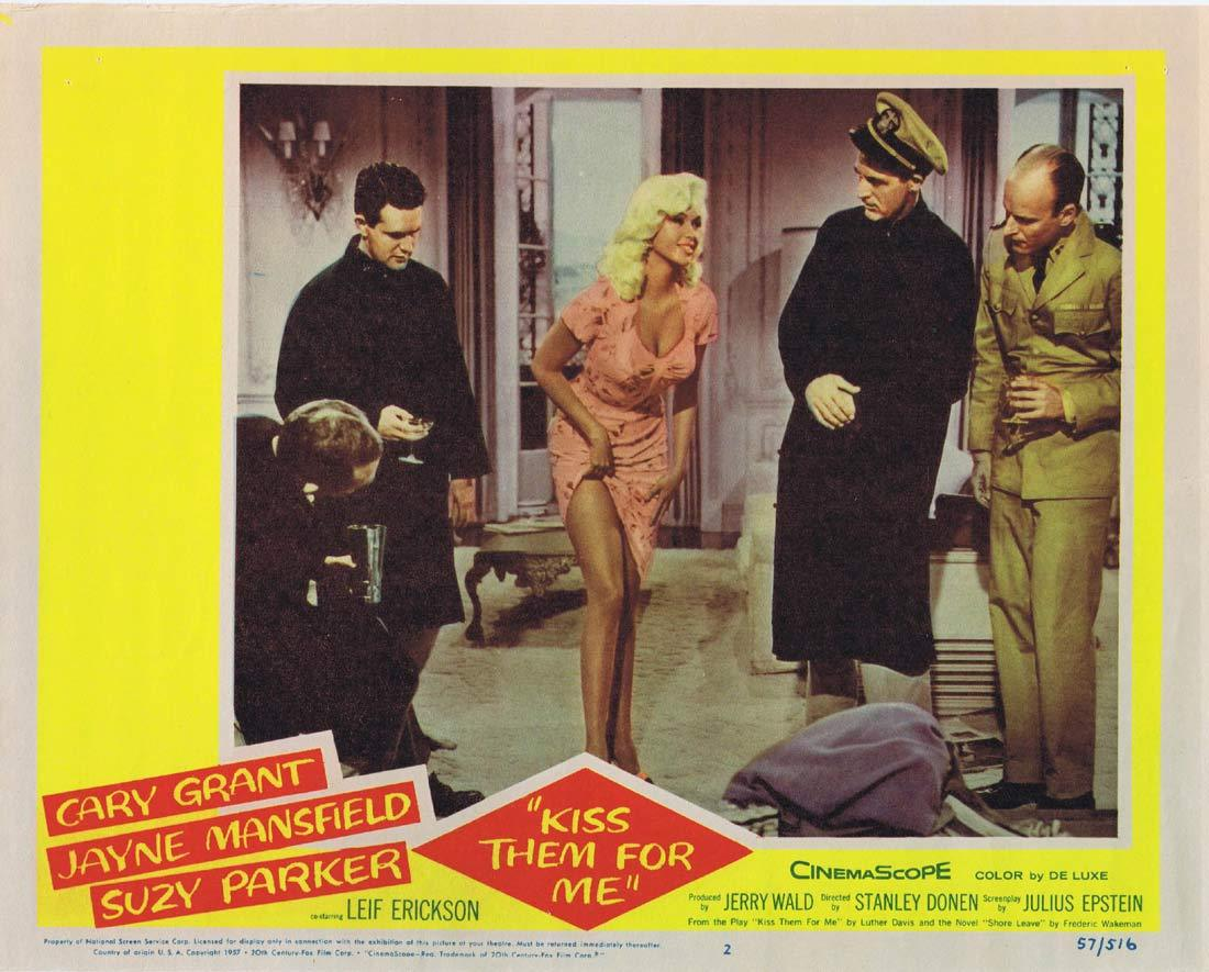 KISS THEM FOR ME Original Lobby Card 2 Cary Grant Jayne Mansfield Ray Walston Suzy Parker