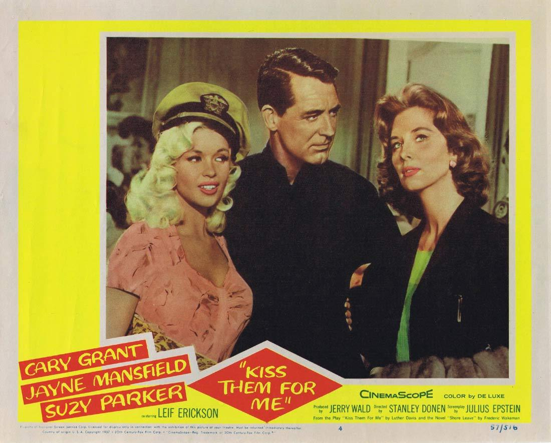 KISS THEM FOR ME Original Lobby Card 4 Cary Grant Jayne Mansfield Ray Walston Suzy Parker