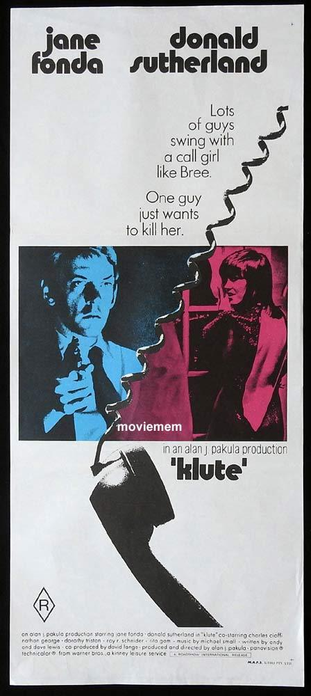 KLUTE Original Daybill Movie Poster Jane Fonda Donald Sutherland