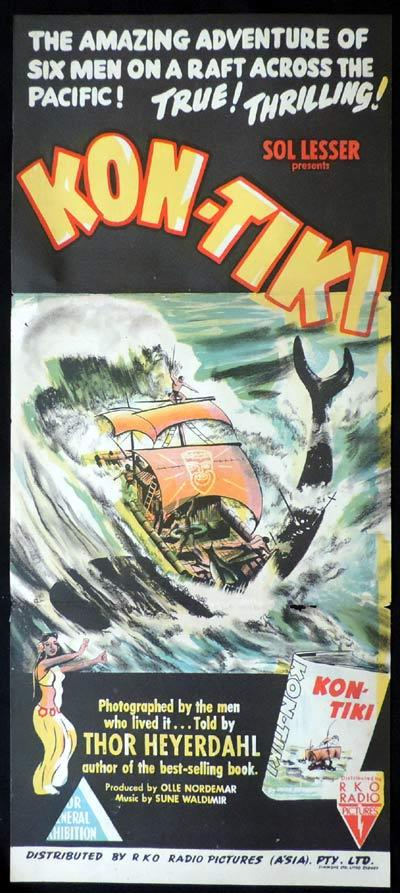 KON-TIKI Original Daybill Movie Poster Kon Tiki expedition Thor Heyerdahl
