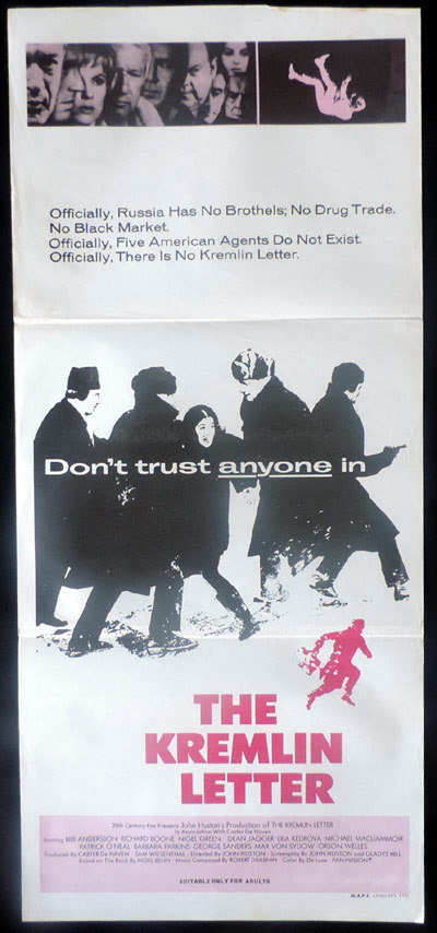 THE KREMLIN LETTER Original Daybill Movie poster Dean Jagger Nigel Green