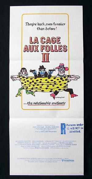 LA CAGE AUX FOLLES II Daybill Movie Poster Michel Serrault