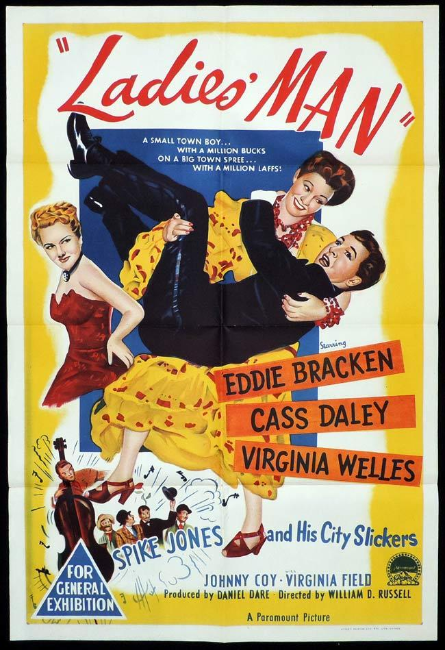 LADIES MAN Original One sheet Movie Poster Eddie Bracken Cass Daley Virginia Welles Spike Jones