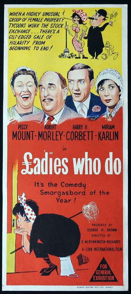 LADIES WHO DO Original Daybill Movie Poster Robert Morley Peggy Mount