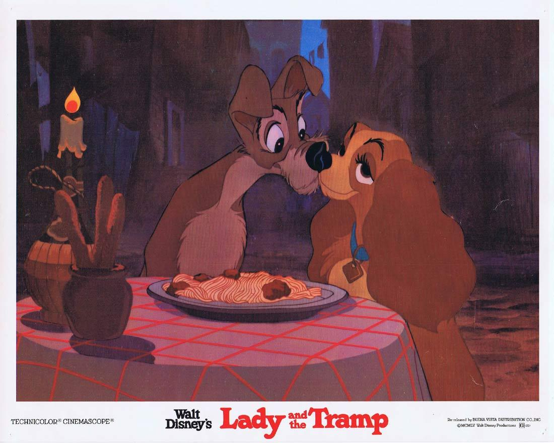 LADY AND THE TRAMP Vintage Lobby Card 3 Walt Disney 1980r