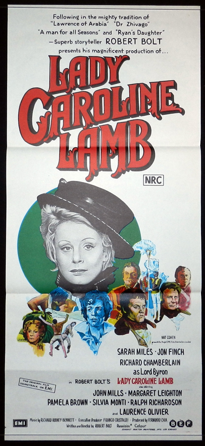 LADY CAROLINE LAMB Original Daybill Movie poster SARAH MILES Richard Chamberlain