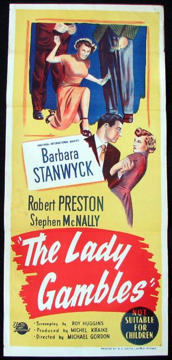THE LADY GAMBLES Movie poster GAMBLING Barbara Stanwyck Robert Preston