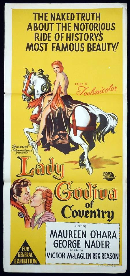 LADY GODIVA OF COVENTRY Movie poster 1955 Maureen O'Hara Australian Daybill