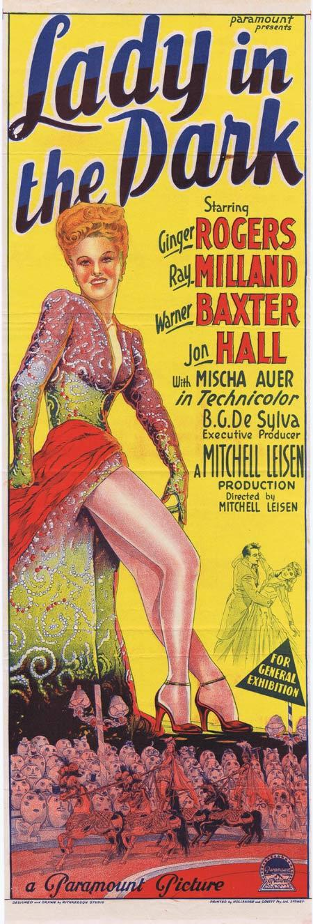 LADY IN THE DARK Original Daybill Movie Poster Ginger Rogers Ray Milland