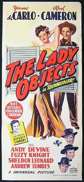 THE LADY OBJECTS Movie poster Yvonne De Carlo Rod Cameron