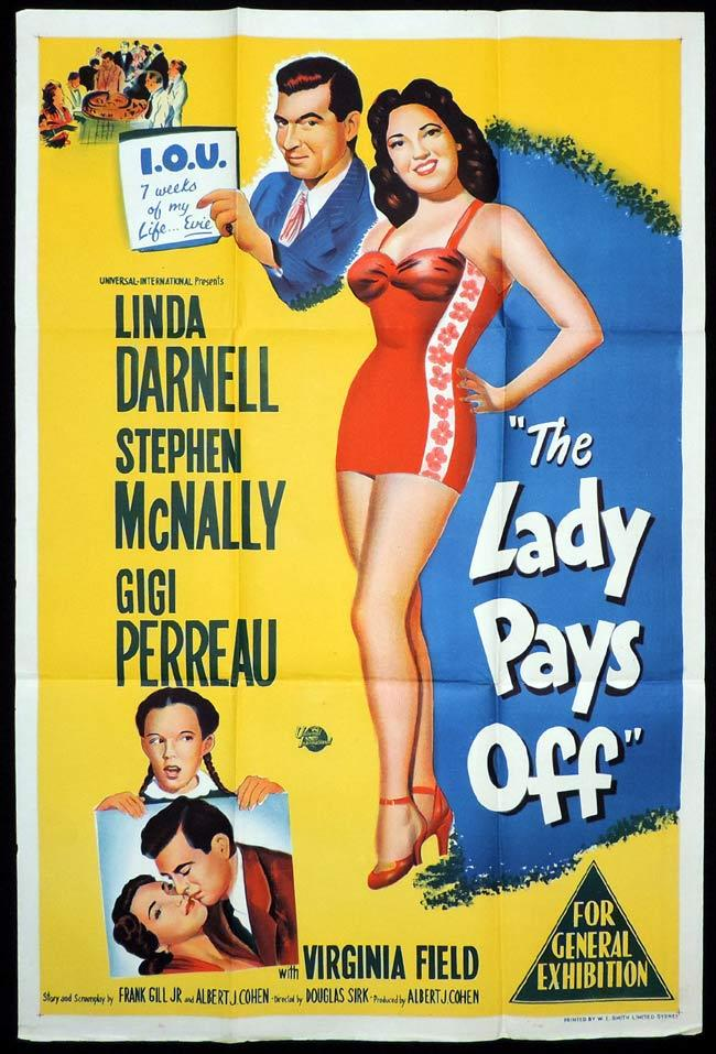 THE LADY PAYS OFF Original One sheet Movie Poster Linda Darnell Stephen McNally Gigi Perreau