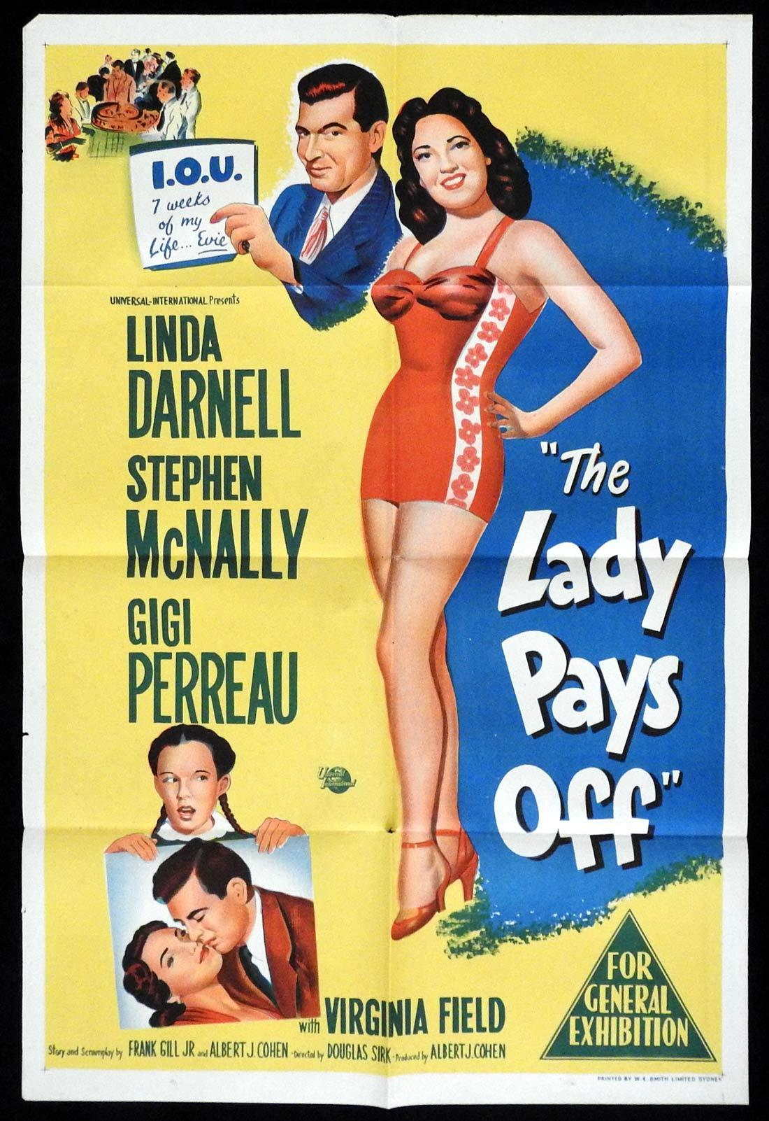 THE LADY PAYS OFF Original One sheet Movie poster  Linda Darnell Stephen McNally