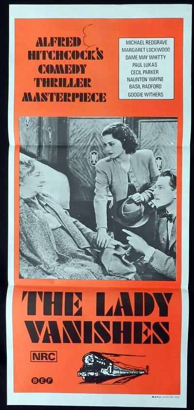 THE LADY VANISHES Original Daybill Movie Poster Alfred Hitchcock 1970s release