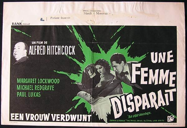 THE LADY VANISHES Movie Poste 1960sR Alfred Hitchcock Belgian