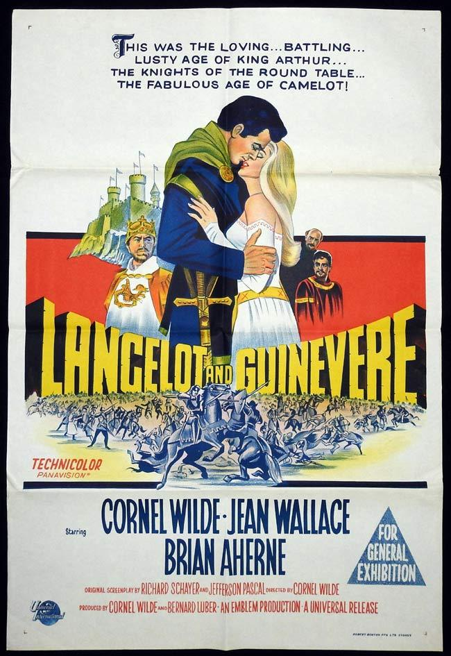 LANCELOT AND GUINEVERE Original One sheet Movie Poster Cornel Wilde Jean Wallace