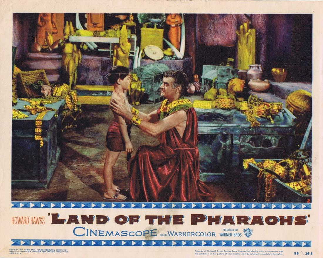 LAND OF THE PHARAOHS Original Lobby Card Jack Hawkins Joan Collins James Robertson Justice