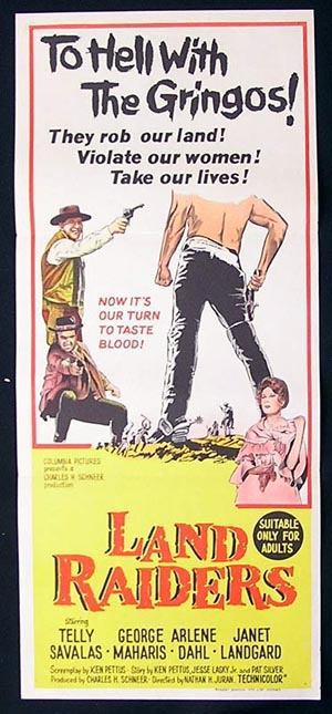LAND RAIDERS Telly Savalas ORIGINAL Daybill Movie poster