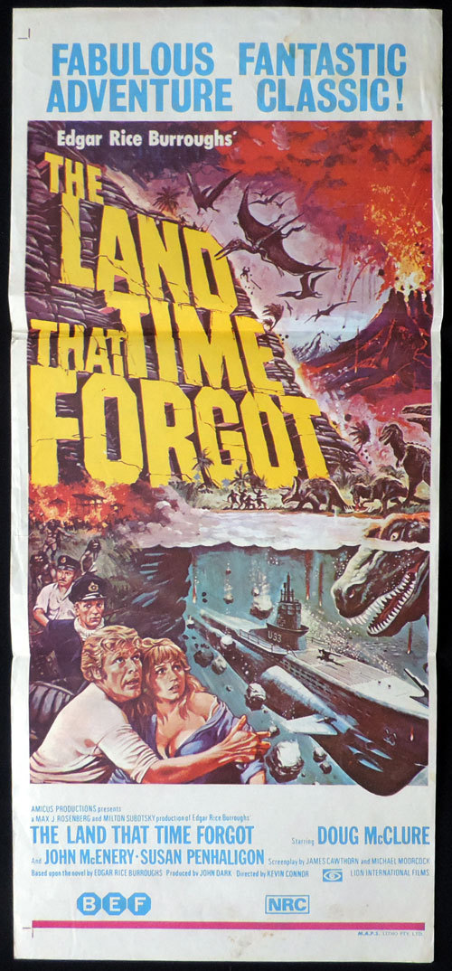 THE LAND THAT TIME FORGOT Original Daybill Movie poster Doug McLure Dinosaurs